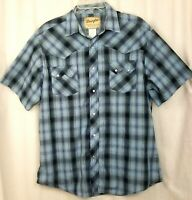 Wrangler mens western shirt size L blue plaid pearl snap short sleeve cowboy