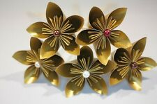 10 Origami Kusudama Flowers in gold pearlescent paper, Wedding, Bouquet,