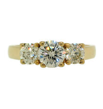 1.48ctw 3 ROUND DIAMOND ENGAGEMENT RING 14K YELLOW GOLD