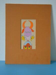 Original Abstract Ink Print + Matting, Charles Chuck SHOEmaker~ Bull+ Cow+Birds~