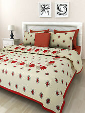 Handmade Indian Rajasthani Red King Size Cotton Bed Sheet With Pillow Covers