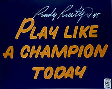 RUDY RUETTIGER #45 SIGNED INSCRIBED 8x10 NAVY PLAY LIKE CHAMPION NOTRE DAME HOLO
