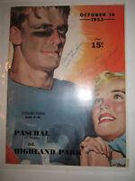 1953 HIGHLAND PARK VS. PASCHAL HIGH - FOOTBALL ROSTER PROGRAM - NICE - TUB RRR