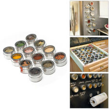 Stainless Steel 12 Pcs Kitchen Magnetic Spice Sauce Soup Container Box Jar Tins