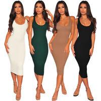 Womens Casual Sleeveless Dress Bodycon Midi Skirt Slim Clubwear Tight Party