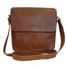 Womens Crossbody Genuine Leather Saddle Bag Brown Messenger Style Shoulder Purse