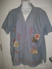 Bobbie Brooks Women's Blue Floral Embroidery Beaded Faux 2 PC Shirt Size X