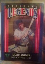 1994 Virginia Lottery Autographed Duke Snider Baseball Legends Card Very Rare