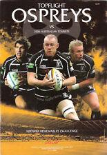 AUSTRALIA A 2006 RUGBY TOUR PROGRAMME v OSPREYS 1st November at Liberty Stadium
