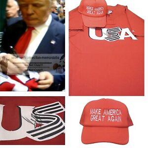 Donald Trump USA President Signed United States Baseball Jersey w/Maga Hat Proof