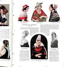 Chapeaux Coiffes de femmes des régions de France Burucoa du   ILLUSTRATION 1932