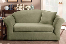 Sure Fit Stretch Stripe Separate Seat Loveseat Slipcover Box Style Cushion Sage