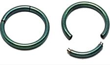 2X Septum Tragus Hinged Segment Nose Ear Ring Titanium Plated Dark Green 14g 16g