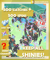 Pokemon Go 500 Random Catches + 500 Spins *KEEP ALL SHINY* (READ DESCRIPTION)