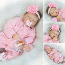 22''Lifelike Handmade  Silicone Reborn Baby Doll Vinyl Sleeping Newborn Girl