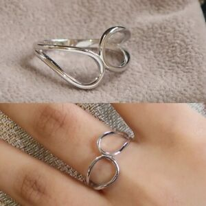 Sterling Silver 925 Double loop wave ring,dainty boho bohemian ring,Size N