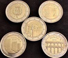 España Lote 5 Monedas De 2 Euros Compostela-50 Aniv-naranco-avila.acueducto. S/C