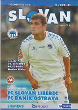 Programme / Programma FC Slovan Liberec v FC Banik Ostrava 29-07-2002
