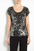 MICHAEL KORS NWT Women's Sequin Top siz XS Black Gray silver cap sleeve Rayon 94