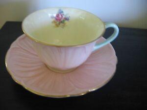 SHELLEY PINK PETAL TEXTURED TEA CUP AND SAUCER