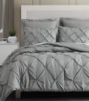 Estellar 100% Microfiber Grey Linen Textured Printing Pinch Pleat Comforter Set