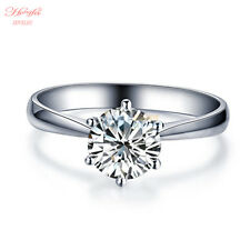 1 Ct Round Cut Solitaire Engagement Wedding Womens Ring 14K White Gold Toned 7.5