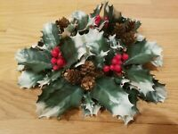 """Vintage Plastic Flower Candle Ring Christmas Holly Berries Pinecones Greenery 8"""""""