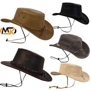 Leather Hats Wild West Western Style Australian Unisex Cowboy Cowgirl Headwear