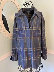 Lauren Ralph Lauren Mens 100% Wool Plaid Long Sleeve Button Shirt M Monogrammed