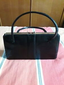 Vintage Black Riviera Bag Real Suede Lined with Mirror Made in England