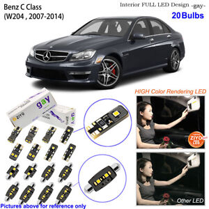 20 Bulbs Deluxe LED Interior Light Kit HID White For 2007-2014 W204 Benz C Class