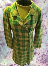 Vintage 60's Mod 2 pc Set Yellow Green Plaid Wool Lined Coat & Sweater Sz Small
