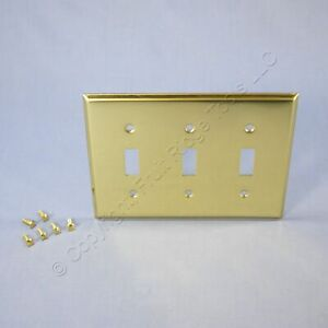 New Mulberry Standard Polished BRASS 3-Gang Toggle Switch Cover Wallplate 64073