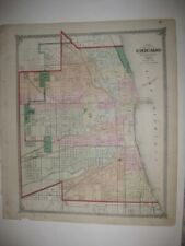 ANTIQUE 1875 CHICAGO ILLINOIS DATED HANDCOLORED MAP RAILROAD SUPERB DETAILED NR