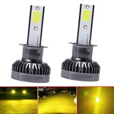 2× Mini H3 LED Headlight Fog Light Bulb DRL 110W 22000LM Kit 3000K Golden Yellow