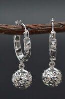 #AS16 Italian 14k Solid White Gold huggie closure diamond-cut Earrings 1'' 2.4GR