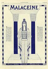 """""""CRÊME MALACEÏNE"""" Annonce originale entoilée L'ILLUSTRATION 03/09/1921"""
