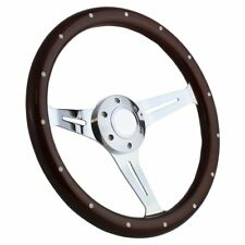 "Hot Rod Rat Rod Street Rod Muscle Car 15"" Steering Wheel Mahogany & Chrome"