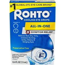 New Rohto All-In-One 8 Symptom Relief Cooling Eye Drops 0.4 Fl. Oz.
