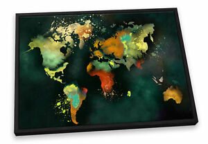 Map World Dark CANVAS FLOATER FRAME Wall Art Print Picture