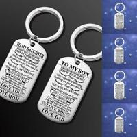 Stainless Steel Pendant Family Gift Mom Dad Son Brother Keychain Key Chain Ring