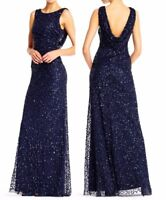 ADRIANNA PAPELL Sequin Cowl Back Dress Gown in Navy, Sz:0 Ret:$299 NWT