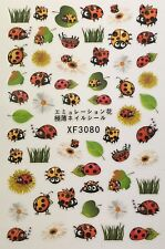 Nail Art 3D Decal Stickers Cute Ladybug Spring Summer Goodluck Ladybugs Xf3080