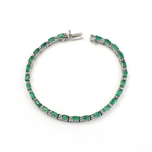 NATURAL EMERALD Gemstone 925 Sterling Silver Prong Setting Bracelet Jewelry