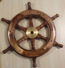 "18"" Collectible Ship Steering Wheel Wall Decor Maritime Nautical Wood / Brass"