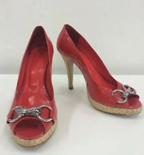 ZU Red Pantent Leather Open Toe Peeptoe Pumps Silver Detail Size 9
