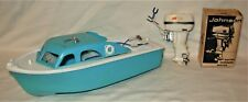 Vintage Fleet Line Viking Toy Boat w/ Johnson Electric Outboard Motor #43 & Box