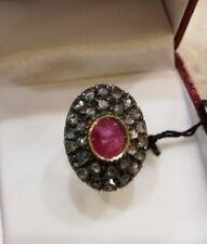 ANELLO stile antico   oro - argento con  rubino  e diamanti