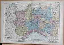 1890 LARGE VICTORIAN MAP - ITALY NORTH WEST PIEDMONT LIGURIA LOMBARDY EMILIA