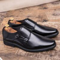 Fashion Men's Dress Formal Wedding Monk Strap Oxfords Slip On Faux Leather Shoes